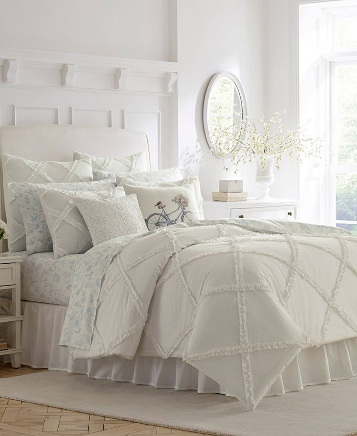 Laura Ashley - Adelina White Comforter Set, Twin