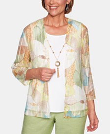 Alfred Dunner Santa Fe Floral-Print Open-Front Cardigan