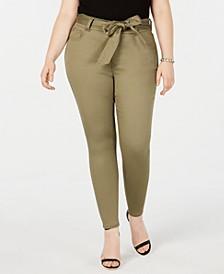 Plus Size  Tie-Waist Skinny Jeans
