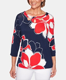 Alfred Dunner Petite In The Navy Floral-Print Top