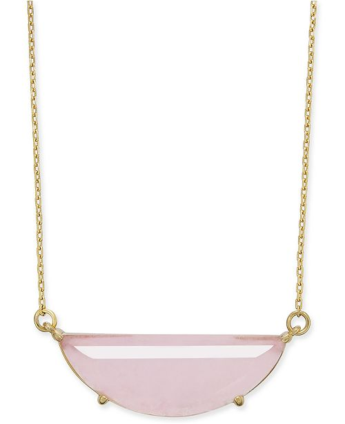 "kate spade new york  Gold-Tone Stone Half-Circle Pendant Necklace, 16"" + 3"" extender"