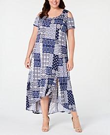 Plus and Petite Plus Size Printed Cold-Shoulder Maxi Dress