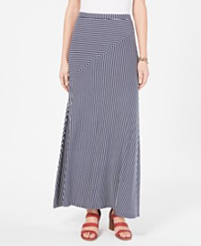 Style & Co Striped Pull-On Maxi Skirt, Created for Macy's