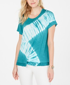 Style & Co Petite Tie-Dyed Ruffle-Hem T-Shirt, Created for Macy's