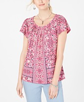 a5adab296 Style & Co Printed Pleated-Neck Top, Created for Macy's