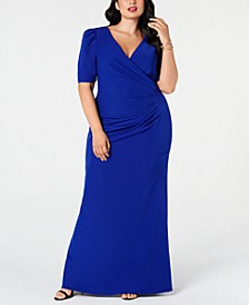 Plus Size Puff-Sleeve Ruched Gown