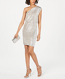 Adrianna Papell One-Shoulder Sequined Sheath Dress