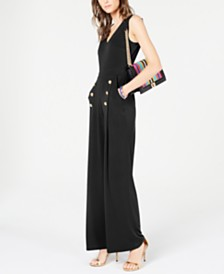 I.N.C. Button Wide-Leg Jumpsuit, Created or Macy's