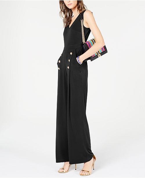 INC International Concepts I.N.C. Button Wide-Leg Jumpsuit, Created or Macy's
