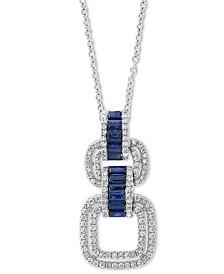 "EFFY® Sapphire (5/8 ct. t.w.) & Diamond (3/8 ct. t.w.) 18"" Pendant Necklace in 14k White Gold"