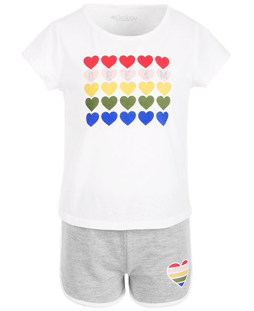 Ideology Little Girls 2-Pc. Rainbow Heart Graphic T-Shirt & Shorts Set, Created for Macy's