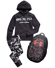 Under Armour Big Boys Rival Hoody, Camo Jogger Pants & Backpack Separates