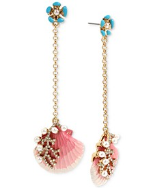 Betsey Johnson Gold-Tone Imitation Pearl & Crystal Shell Drop Earrings