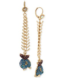 Betsey Johnson Gold-Tone Glitter Fish Drop Earrings