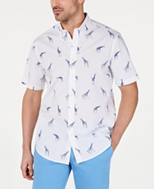 Club Room Men's Stretch Giraffe-Print Shirt, Created for Macy's