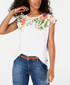 Tommy Hilfiger Printed Cap-Sleeve T-Shirt, Created for Macy's