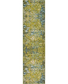 "Adah Ada1 Green 2' 7"" x 10'  Runner Area Rug"