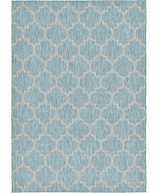 Bridgeport Home Pashio Pas5 Aquamarine 7' x 10' Area Rug