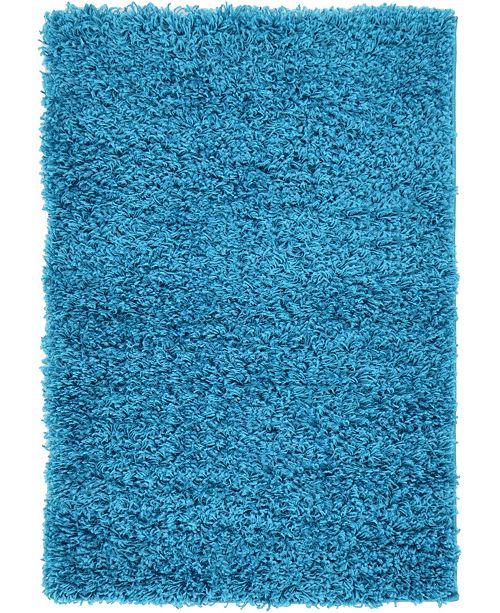 "Bridgeport Home Exact Shag Exs1 Turquoise 2' 2"" x 3' Area Rug"
