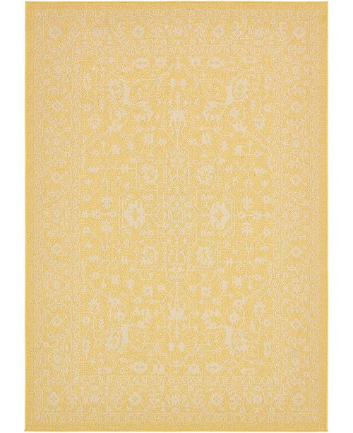 Bridgeport Home Pashio Pas6 Yellow 7' x 10' Area Rug