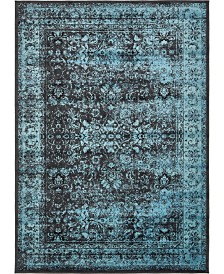 Bridgeport Home Linport Lin1 Turquoise/Black 7' x 10' Area Rug
