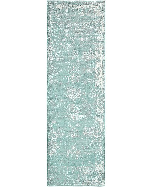 "Bridgeport Home Basha Bas1 Turquoise 2' x 6' 7"" Runner Area Rug"