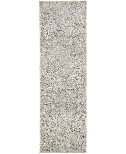 "Bridgeport Home Malloway Shag Mal1 Light Gray 2' x 6' 7"" Runner Area Rug"