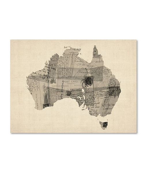 "Trademark Global Michael Tompsett 'Old Postcard Map of Australia' Canvas Art - 18"" x 24"""