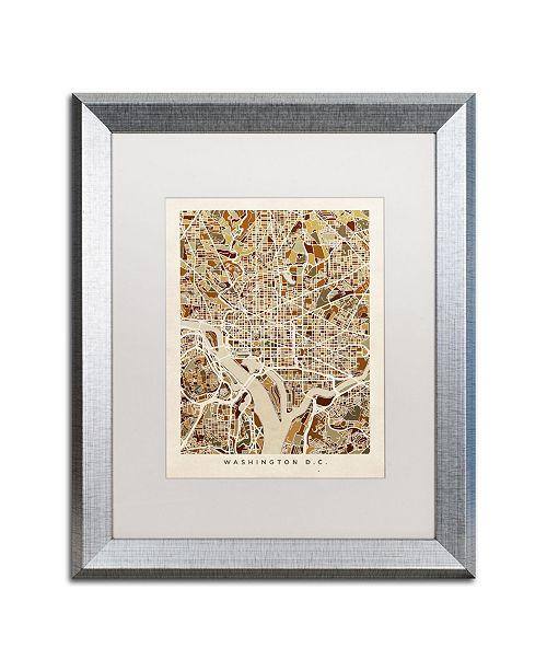 "Trademark Global Michael Tompsett 'Washington DC Street Map 3' Matted Framed Art - 16"" x 20"""