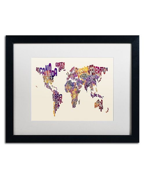 "Trademark Global Michael Tompsett 'Text Map of the World' Matted Framed Art - 16"" x 20"""