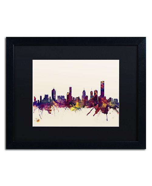 """Trademark Global Michael Tompsett 'Melbourne Skyline' Matted Framed Art - 16"""" x 20"""""""