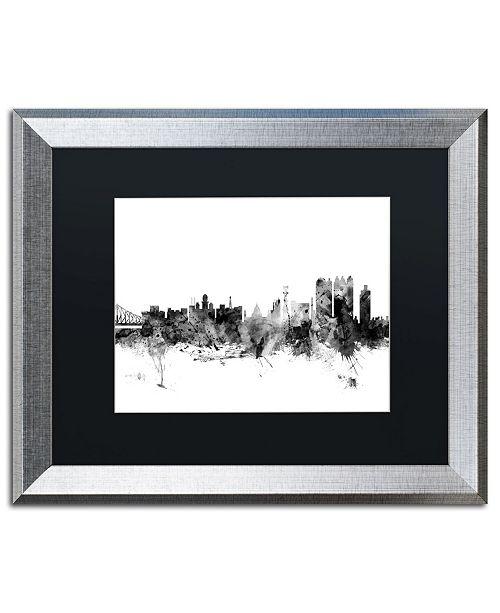"Trademark Global Michael Tompsett 'Calcutta India Skyline B&W' Matted Framed Art - 16"" x 20"""