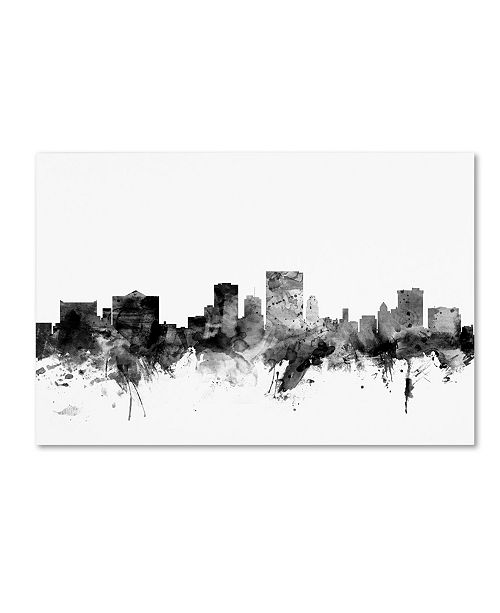 "Trademark Global Michael Tompsett 'El Paso Texas Skyline B&W' Canvas Art - 16"" x 24"""