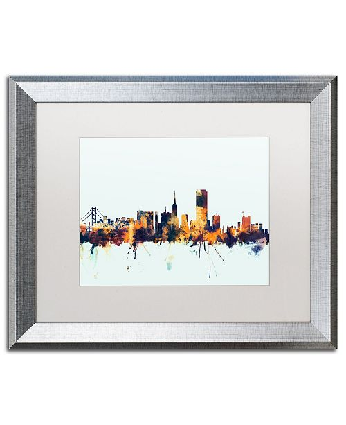 "Trademark Global Michael Tompsett 'San Francisco Skyline Blue' Matted Framed Art - 16"" x 20"""