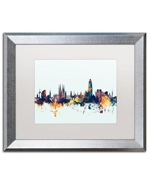 """Trademark Global Michael Tompsett 'Barcelona Spain Skyline Blue' Matted Framed Art - 16"""" x 20"""""""