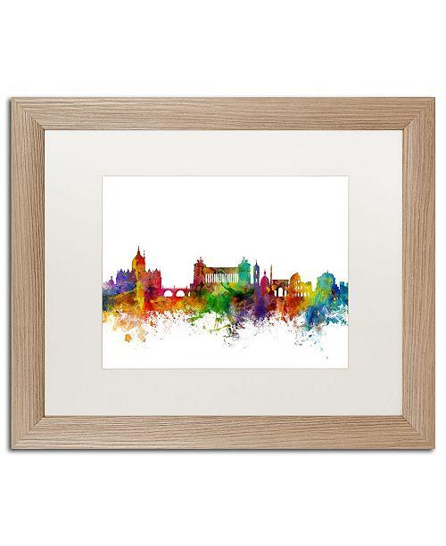 """Trademark Global Michael Tompsett 'Rome Italy Skyline White' Matted Framed Art - 16"""" x 20"""""""