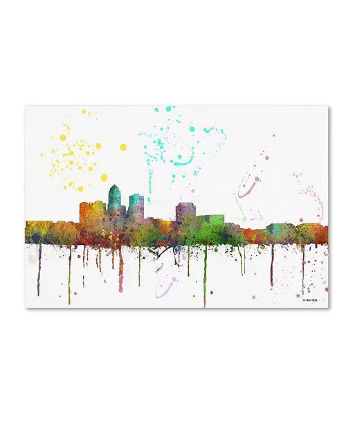 """Trademark Global Marlene Watson 'Des Moines Iowa Skyline Mclr-1' Canvas Art - 16"""" x 24"""""""