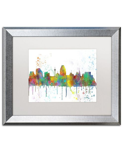 "Trademark Global Marlene Watson 'San Antonio Texas Skyline Mclr-1' Matted Framed Art - 16"" x 20"""