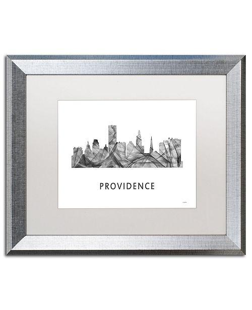 "Trademark Global Marlene Watson 'Providence RI Skyline WB-BW' Matted Framed Art - 16"" x 20"""