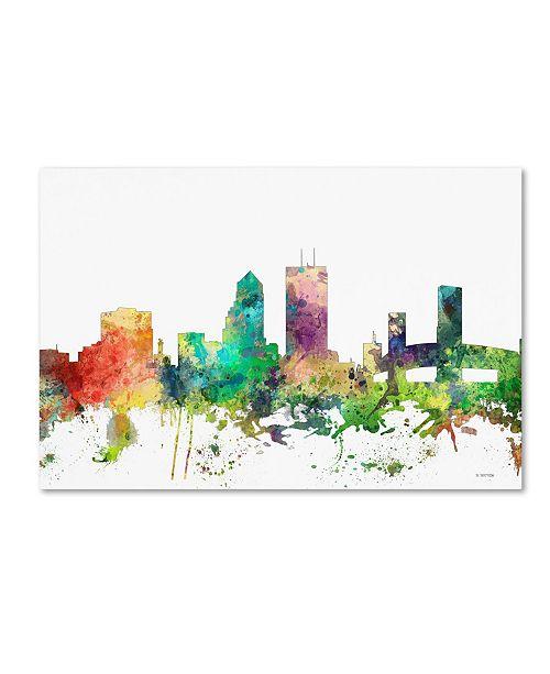 "Trademark Global Marlene Watson 'Jacksonville Florida Skyline SP' Canvas Art - 16"" x 24"""