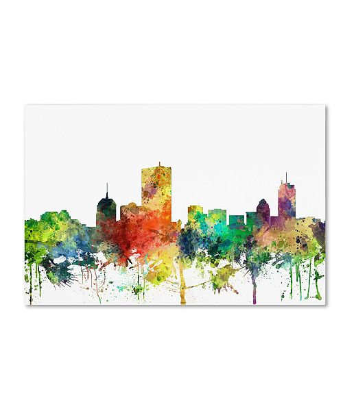 "Trademark Global Marlene Watson 'Boston Mas. Skyline SP' Canvas Art - 16"" x 24"""