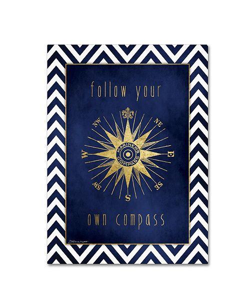 "Trademark Global Stephanie Marrott 'Compass In Gold' Canvas Art - 18"" x 24"""