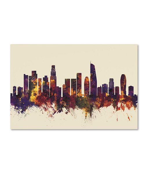 "Trademark Global Michael Tompsett 'Los Angeles California Skyline IV' Canvas Art - 16"" x 24"""