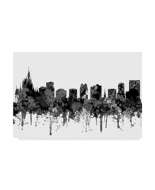 "Trademark Global Marlene Watson 'Orlando Florida Skyline B and W' Canvas Art - 16"" x 24"""