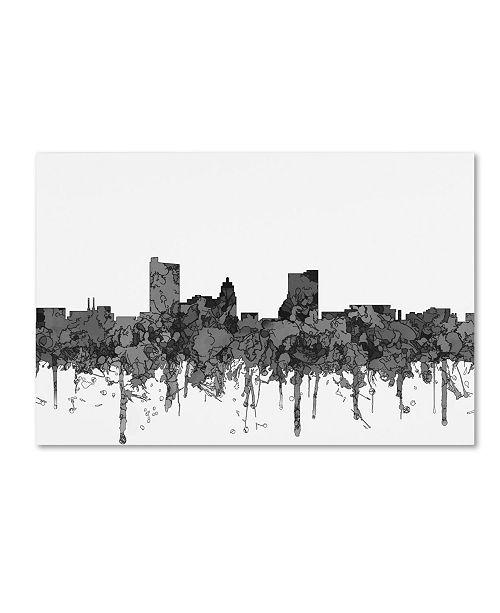 "Trademark Global Marlene Watson 'Fort Wayne Indiana Skyline BW' Canvas Art - 16"" x 24"""
