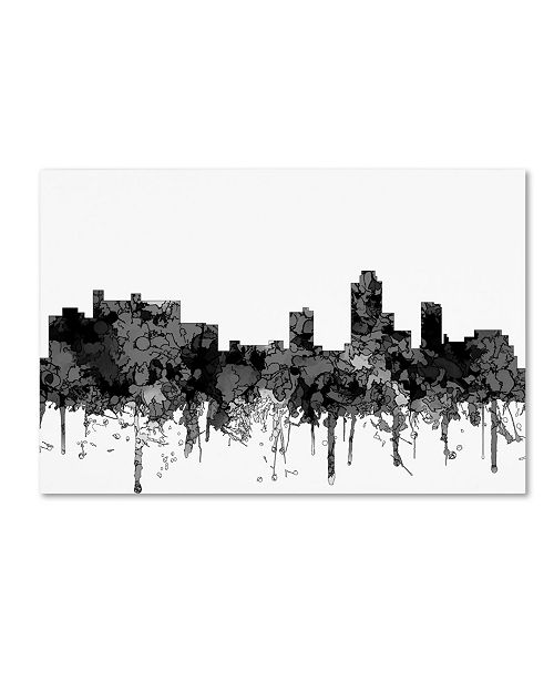 "Trademark Global Marlene Watson 'New Brunswick New Jersey Skyline BW' Canvas Art - 16"" x 24"""