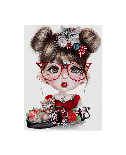 "Trademark Global Sheena Pike Art And Illustration 'Cat Crazy Chloe' Canvas Art - 18"" x 24"""