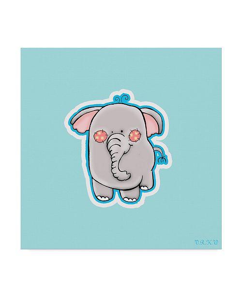 "Trademark Global Valarie Wade 'Blue Background Elephant' Canvas Art - 18"" x 18"""