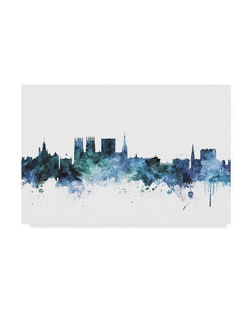 "Trademark Global Michael Tompsett 'York England Blue Teal Skyline' Canvas Art - 19"" x 12"""