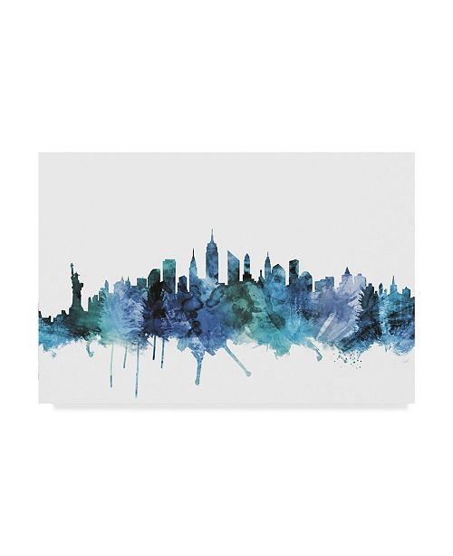 "Trademark Global Michael Tompsett 'New York City Blue Teal Skyline' Canvas Art - 19"" x 12"""